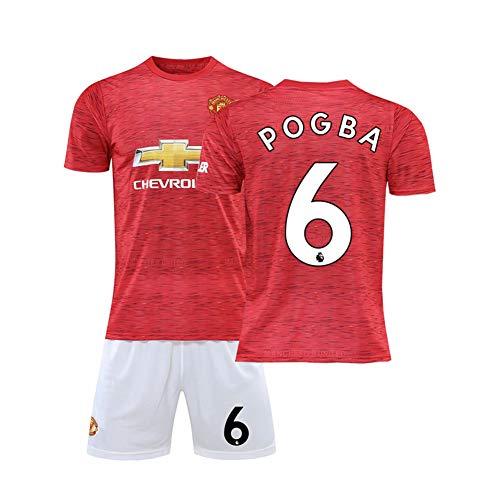 LCHENX-Herren Manchester United 2020-2 Heim- und Auswärtsfan-Fußballtrikot-Set für Herren Paul Pogba # 6 Fußball T-Shirt und Shorts,Rot,12Years