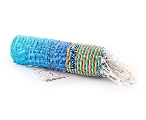 LeStoff das traditionelle Hamamtuch Strandtuch Badetuch Saunatuch Duschtuch Spa Sport Yoga Reisen 100% Naturfaser Baumwolle Die nachhaltige Alternative für Frottee. (100 x 180 cm, Rainbow)