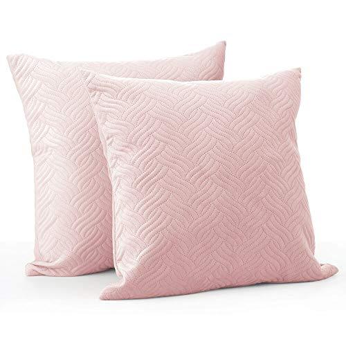 mDesign Juego de 2 fundas de cojín – Forro para cojines de poliéster con aspecto de terciopelo sin cremallera – Suaves fundas decorativas pespunteadas para cojines de sofá sin relleno – rosa