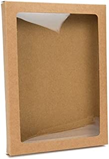 Kraft Paper Window Box with Attached PET Sheet | 25 Boxes | 5 x 7/8 x 7 | Protects Stationary, Cosmetics, Treats, Favors | Acid Free & Archival Safe | WKRG266