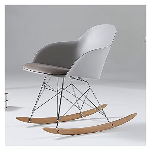 ZYLE Silla de Mecedora plástica Moderna, sillón Elegante, Silla Mecedora con reposabrazos, diseño Moderno Minimalista (Color : Light Gray)