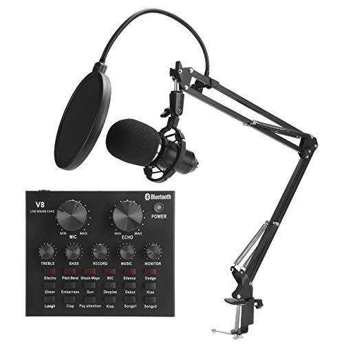 Juego de micrófono de condensador, equipo de transmisión en vivo Juego de micrófono de condensador para grabación con mezclador, tarjeta de sonido y soporte para micrófono