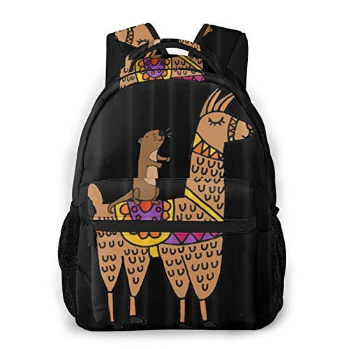 Otter Riding Llama Unisex Polyester Canvas Casual Fashion Large Capacity Multi Function Backpack