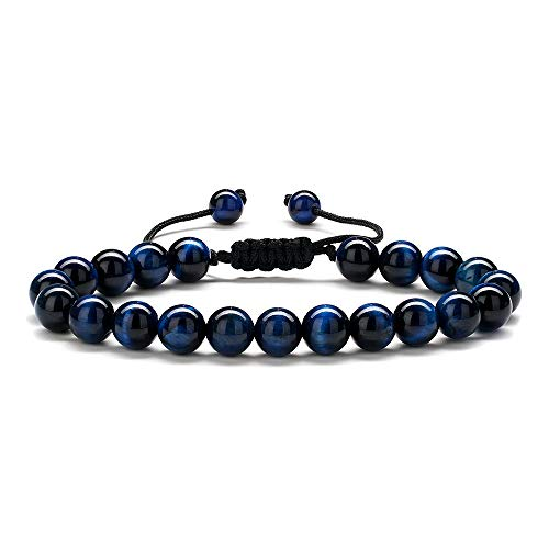 Best Gifts for Men Lava Bracelet - Natural Black Lava Rock Stone Mens Anxiety Bracelets, Adjustable Aromatherapy Essential Oil Diffuser Healing Bracelet Gifts for Men Office Gifts for Coworkers