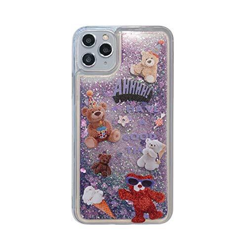 Funda para iPhone 11 Pro Max, 3D Glitter Sand Fluyendo Líquido Bling Sparkle Lindo Transparente Suave TPU Bumper Gel Silicona a prueba de golpes Funda protectora para Niñas Mujeres Helado