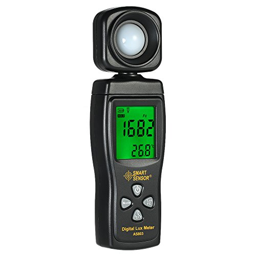 Baugger Medidor De Luz - Sensor Inteligente Mini Medidor de Luz Digital LCD de Pantalla de Mano Iluminómetro Luminómetro Fotómetro Medidor de Luz Luxómetro 0-200000 Lux