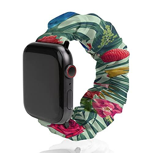 Correa de repuesto para hombre y mujer, compatible con Apple Watch de 42 mm/44 mm, suave y elástica para iWatch Series SE 6/5/4/3/2/1, Tropical Fun Time Mark Ashkenazi