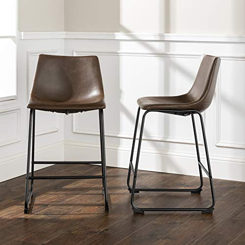 """Walker Edison Furniture Company 26"""" Industrial Faux Leather Armless Indoor Kitchen Dining Chair Stool with Metal Legs Upholstered, Set Of 2, Brown -  CHL26BR"""