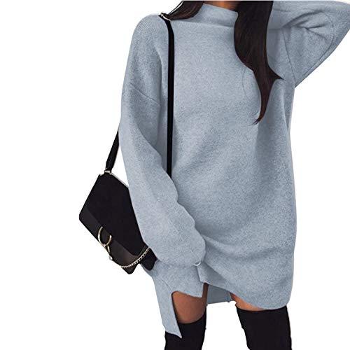Jieyun Suéter de cuello alto para mujer, casual, de manga larga, de punto, más tamaño, suelto