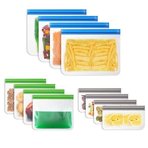 Vicloon Lebensmittel Beutel, 12 Stück Sandwich Tasche Wiederverwendbare ohne BPA, Food Grade aus PEVA, Küche Beutel mit DREI Größen, Gefrierbeutel für Obst, Gemüse, Fleisch, Snack, Milch und Brot
