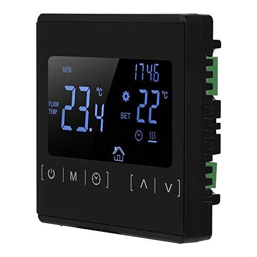 MH1822 zwart/wit verwarmingsregelaar, NTC elektrische verwarming thermostaat drukknop temperatuurregelaar voor sensormeting, hoge/lage temperatuur bescherming (zwart)