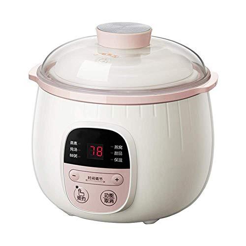 GAOZHEN Elektrischer Eintopf Pot Ceramic Liner Slow Cooker, Haushalts-Multifunktions-Kochtopf, Kleiner Slow Cooker mit Reservierungsfunktion für 1-2 Personen