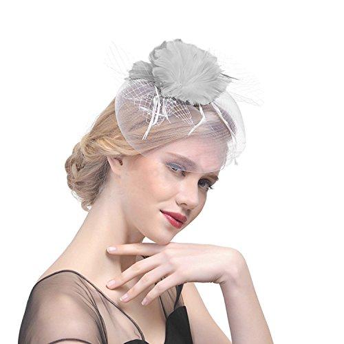 JINTN JINTN Damen Feder Fascinator Hut mit Haar Clip, Patei Blumen Mesh Bänder Kopfschmuck, Party Headwear Haarschmuck, Hochzeit Hut Stirnband Kopfbedeckung für Party Kirche Hochzeit