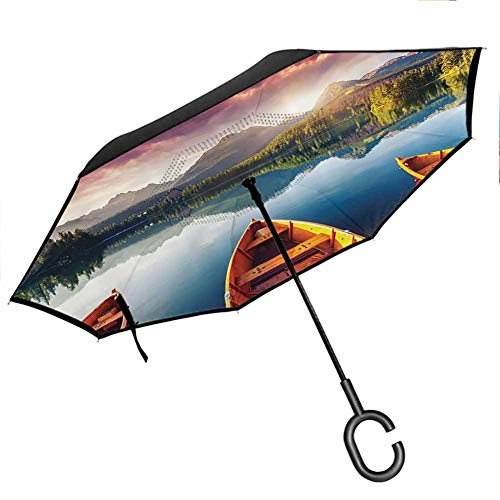 Cottage Decor Collection Umbrella for Women with UV Protection Mountain Lake Strbske in National Park at High Tatras Slovakia Dramatic Sky and Boats View Orange Dimgray