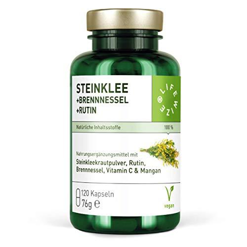 LifeWize® Steinklee Komplex - 500 mg Steinklee & 420 mg Rutin + Brennnessel + Hagebutte + Mangan - Vegan und ohne Zusätze - Hergestellt in Deutschland