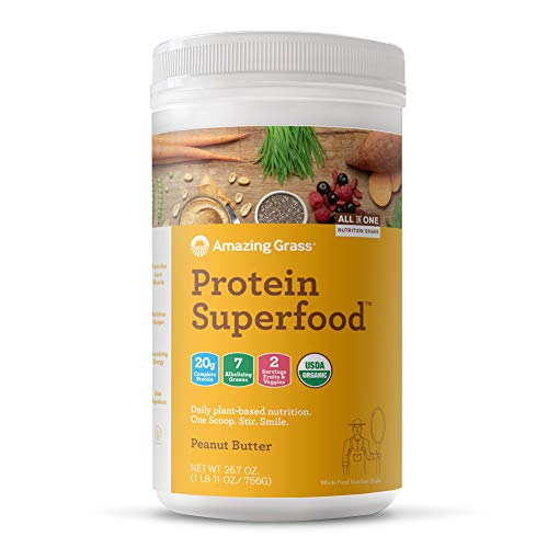 Amazing Grass Protein Superfood: Organic Vegan Protein Powder, Plant Based Meal Replacement Shake with 2 servings of Fruits and Veggies, Peanut Butter Flavor, 18 Servings, 26.7 Ounce