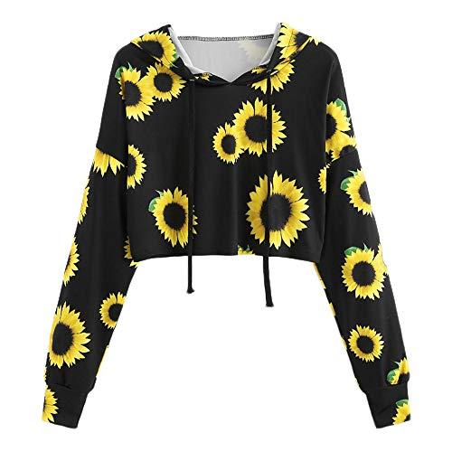 HOTHONG Chemisier Femme Pullover Tops à Capuche Blouse T-Shirt Imprimé Haut à Col Rond Mode Shirts DéContractéS à Manches Longues Casual Hauts