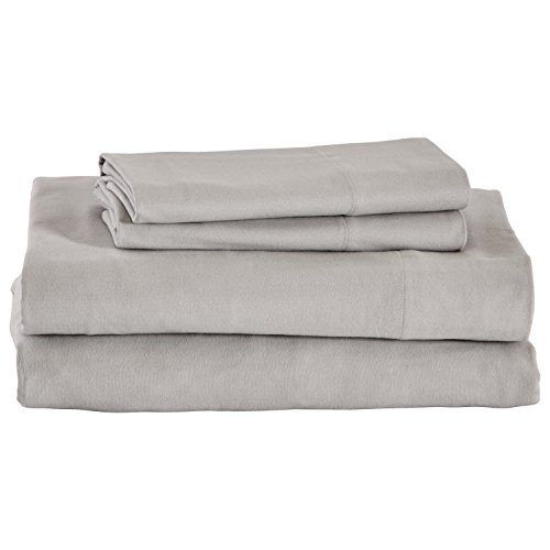 Amazon Brand – Stone amp Beam Rustic Solid 100% Cotton Flannel Bed Sheet Set Queen Cloud
