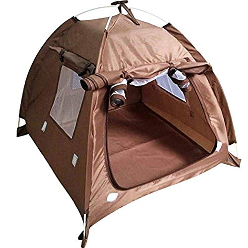 Da Jia Inc Breathable Washable Pet Puppy Kennel Dog Cat Folding Indoor Outdoor House Bed Tent(Coffee,M)