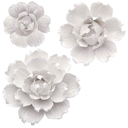 BINGNENG Handmade Ceramic Flower Wall Decor Porcelain Flower Decoration Art Peony White 3 Pack