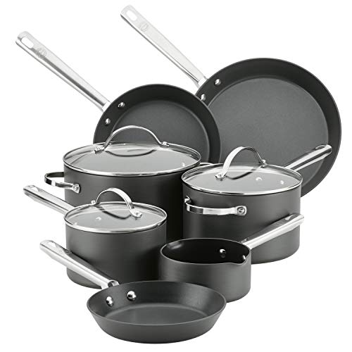 Anolon Professional Dishwasher Safe Hard Anodized Nonstick Cookware Pots and Pans Set, 10 Piece, Gray