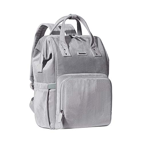 Velvet Stitching Diaper Bag Backpack, SUNVENO Large Capacity Tote Shoulder Nappy Bag Organizer for Baby Care with Insulated Pockets,Waterproof Fabric (Grey)