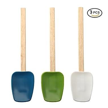 Organic Silicone Spatula 3-piece Set, Heat-Resistant Spatulas solid wood handle