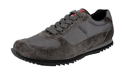 Prada Herren Grau Leder Sneaker 4E2721 OQT F0207 40 EU / 6 UK