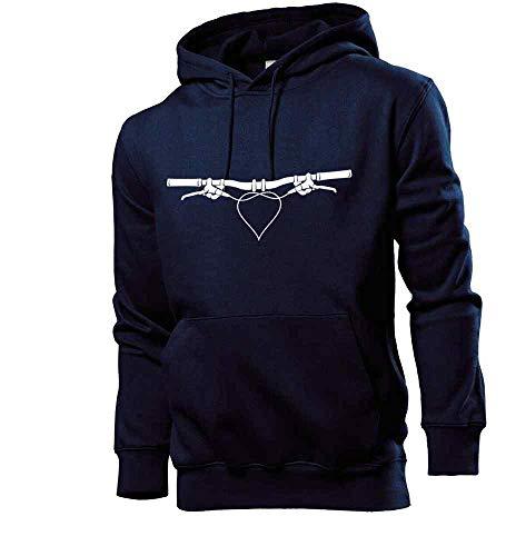 Generisch Shirt84.de Sweat-shirt à capuche pour guidon de VTT avec cœur pour homme - Bleu - X-Large