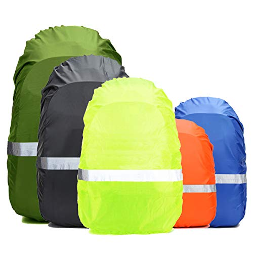 Frelaxy Hi-Visibility Backpack Rain Cover with Reflective Strip 100% Waterproof Ultralight Backpack Cover (Neon Green with Reflective Strip, M (for 25L-35L Backpack))