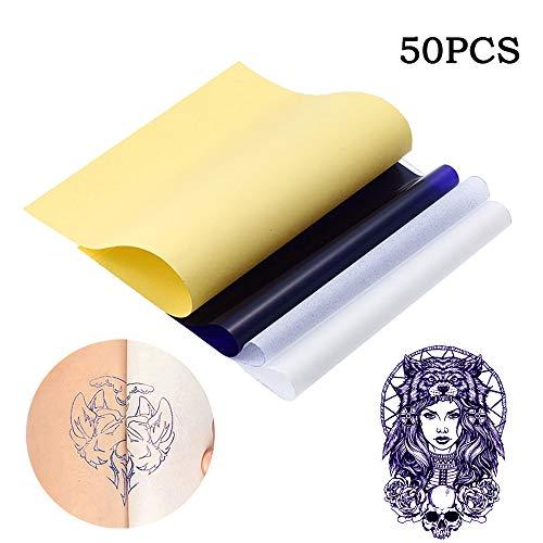 INHEMI 50 Blatt Tattoo Papier Transferpapier | Pauspapier für Schablone | Thermodrucker Transferfolie auf Haut | Tattoopapier Folie zum Tattoos Bedrucken | Matrizenpapier zur Tätowierung