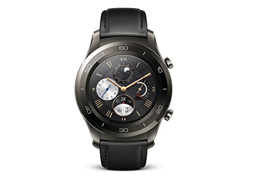 HUAWEI Watch 2 Classic (Bluetooth) Smartwatch mit schwarzem Lederarmband (NFC, Bluetooth, WLAN, Android Wear/Wear OS by Google) grau