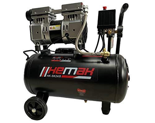 HEMAK HK-SK24/8 Silent Kompressor 300 Bar 8 bar 24 L 750W Flüster Druckluft 65 dB Ölfrei 2 Zylinder 1PS