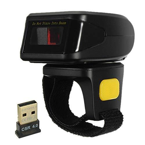 KIKIRon Scanner de Codes à Barres POS Mini Portable sans Fil Bluetooth Wearable Anneau 4,0 Scanner Lecteur De Codes Barre 1D UPC (Couleur : Noir, Taille : Taille Unique)