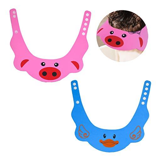 NATEE 2 pcs Verstellbarer Shampoo Schutz Duschhaube Badekappe Augenschutz Ohrschutz Shampoo Bade Hut Mütze für Baby Kinder Haarewaschen