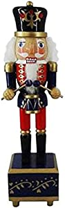 "Christmas Holiday Wooden Nutcracker Figure Soldier Music Box Drummer with Traditional Black & Red Uniform Jacket, Hat, Drum Sticks- Music Box Plays ""Nutcracker Suite March"" Large 12 Inch"
