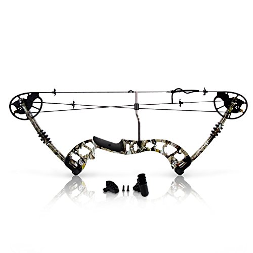 "Sharp Eye Camouflage Compound Bow - 320 FPS Hunting Camo Archery Gear - Fiberglass Limb, Metal Riser, 4 String Silencers, 30-70lbs Adjustable Draw Weight, 23.5""-30.5"" Length - SereneLife SLCOMB10.5"