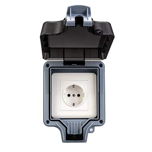 HerePow Enchufe de interruptor exterior impermeable, enchufe de pared, enchufe de interruptor IP66, caja de enchufe impermeable para jardín, parque, baños y aplicaciones comerciales