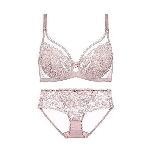 Conjunto de sujetador sexy para mujer, con aros, minimalistas, sexy, encaje floral, lencería push up, bralette y bragas y sujetadores para uso diario (color: rosa, tamaño: 85 C)