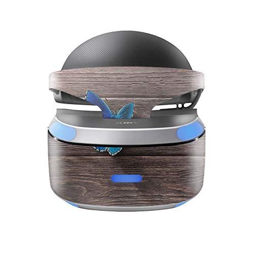 Skins4u Aufkleber Design Schutzfolie Vinyl Skin kompatibel mit Sony PS4 Playstation 4 VR Brille Butterfly Wood