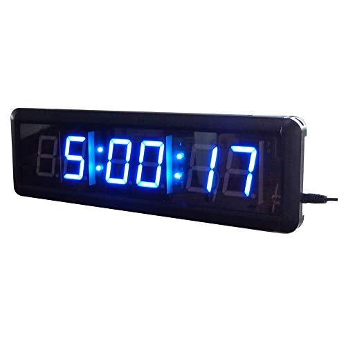ZhenHe Alarma LED Digital Relojes de intervalo del temporizador LED Digital Training Cuenta atrás Cronómetro con control remoto (Color: Negro, tamaño: 1,8 pulgadas) Adecuado para el hogar, oficina, ni