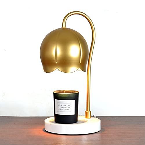 JDKC- Lámpara de Calentador de Velas con Base de Mármol y Brazo de Metal de Oro - no Hay Llama Lámpara de Calentador Sin Humo - Fusión de Cera Eléctrica - Regalo Ideal (Color : Gold)