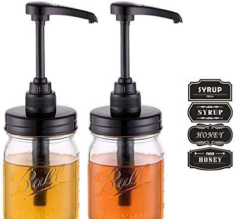 Elwiya Mason Jar Syrup & Honey Dispenser Pump Lids, Rust Proof, Plastic Dispenser Lid for 16 oz Regular Mason Jar Kitchen and Table Decor - 2 Pack