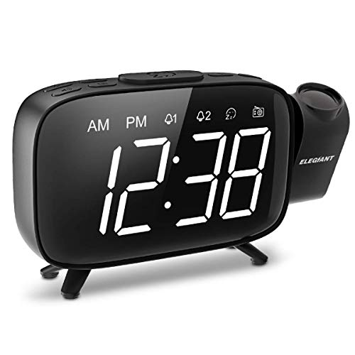 Projection Alarm Clock, ELEGIANT FM Radio Alarm Clock, 6.0'' LED Curved-Screen Display with Dimmer 180° Adjustable Dual Alarm, 12/24Hour, Battery Backup, 7 Alarm Sounds with USB Charger for Bedroom