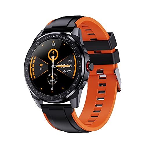 Leisont - Reloj Inteligente Deportivo Hombre y Mujer Reloj Inteligente Fitness Pulsera de Estado de la presión Arterial IP68 Impermeable Black with Orange