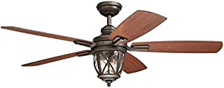 allen + roth Castine 52-in Rubbed Bronze Downrod or Close Mount Indoor/Outdoor Ceiling Fan with Light Kit and Remote