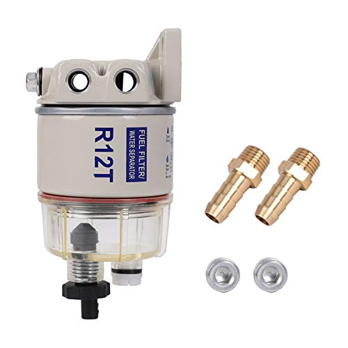 Qukpa R12T Fuel Filter Oil-Water Separator Removable Replacement Complete Kit 10 Micron Fuel Filter Marine Parts Replace S3240 120AT NPT ZG1/4-19 Fit 3/8-inch NPT Outboard Motor