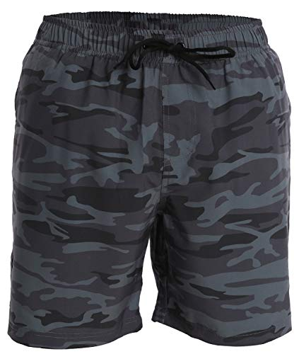 Men's Swim Trunks and Workout Shorts - L - Gray Blue Camo - Perfect Swimsuit or Athletic Shorts for The Beach, Lifting, Running, Surfing, Gym. Boardshorts, Swimwear/Swim Suit for Adults, Boys