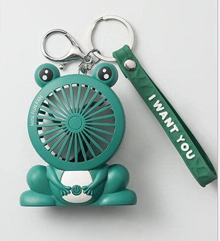 KACC Cartoon Unicorn Fans Rucksack Keychain Ladung im Freien Fans Tragbare Student Anhänger Space Capsule USB Lade Mini Fan (Farbe : Grün)