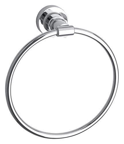 Tesa Luup Porte-serviettes anneau, métal chromé, adhésif, technologie sans percer, 205 mm x 185 mm x 75 mm